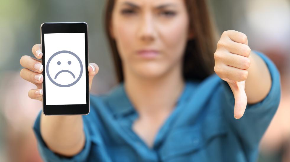 Woman showing negative feedback